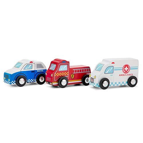 New Classic Toys Jouet en Bois pour Enfant Ensemble de Véhicles - 3 voitures