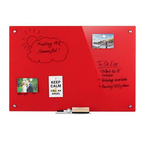 Relaxdays Pizarra magnética de cristal, se puede escribir, con soporte para bolígrafo, cristal de seguridad resistente a los arañazos, 60 x 90 cm, color rojo