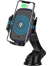 車載Qiワイヤレス充電器 RegeMoudal ワイヤレス充電器車載ホルダー 吸盤式&エアコン出口両用 車載充電器 内蔵赤外線センサー 超安定 自動開閉 15W急速無線充電 360度回転車載ホルダー 片手操作 過充電保護 iphone8/8S/X/XS/XR/Android/Samsung Galaxy Note S7/S8/S9等 ワイヤレス充電モデルに対応