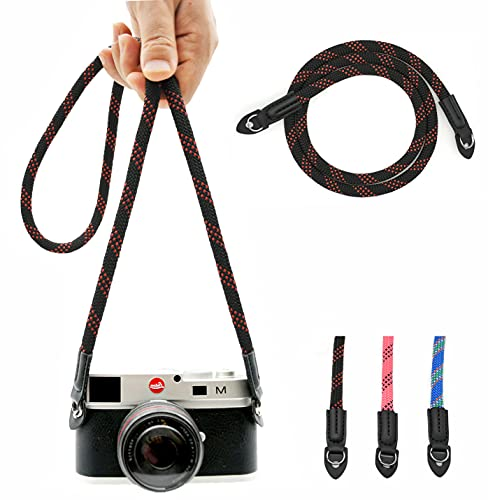 Eorefo Correa de cámara vintage de 100 cm de nailon para escalada de cámara para el cuello y la cámara DSLR (negro/rojo)