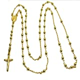 14k Yellow Gold Diamond Cut Catholic Rosary Prayer Beads Necklace
