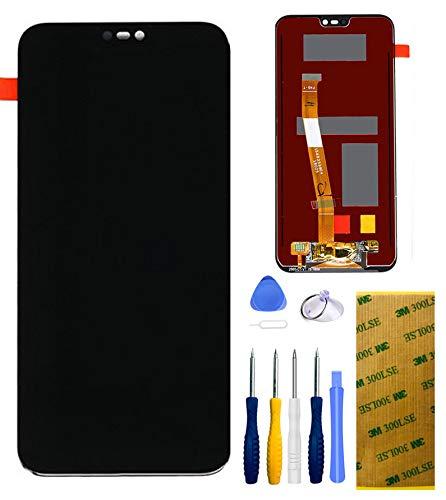 """Xlhama Display Touch Screen LCD di Ricambio Compatibile per Huawei P20 Lite Nero 5,84"""" con Kit Completo di Strumenti di Riparazione Lastra di Vetro Temperato Adesiva 3M (Nero)"""