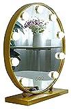 Espejo de Maquillaje Espejo, baño, montado en la Pared, tocador, Led Espejo de Maquillaje Redondo con Bombilla Espejo de tocador de Escritorio Luz de Relleno de Alta definición Profesional Espejos d