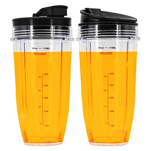 24 oz Cup with Sip & Seal Lid, Compatible with BL480, BL490, BL640, BL680 for Nutri Ninja Auto IQ Series Blenders (2-Pack)