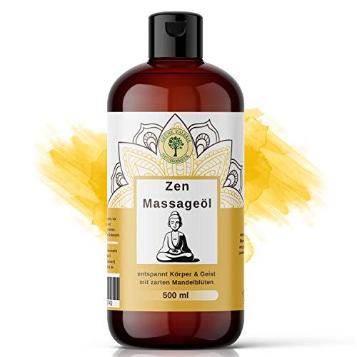 Zen Massageöl 500 ML mit süßen Mandeln | XXL von Grüne Valerie| Entspannt den Geist und beruhigt die Gefühlswelt | Relax! | Made in Italy