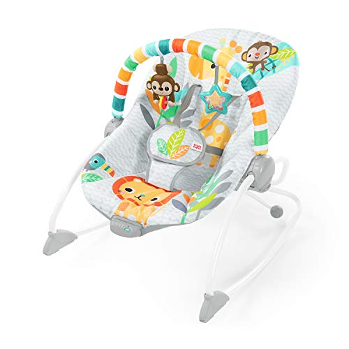 Bright Starts Safari Blast Infant to Toddler Rocker Seat with Soothing Vibrations, 2.02 kg, 12323