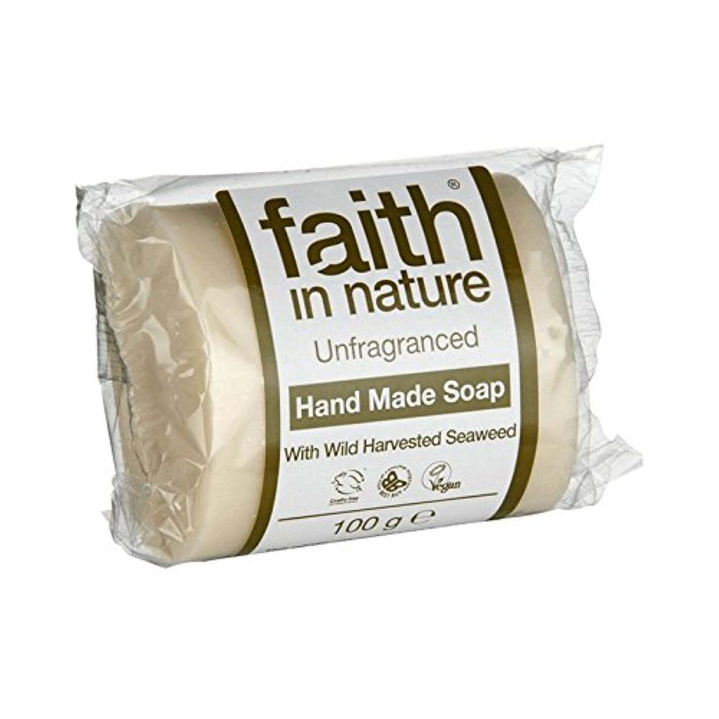 許容できるワイプ軽食Faith in Nature Unfragranced Seaweed Soap 100g (Pack of 6) - 自然無香料海藻石鹸100グラムの信仰 (x6) [並行輸入品]