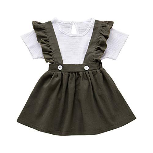 Moneycom❤(2-8Y Toddler Baby Girls Tops à Manches Courtes Tops Solides Jarretelles Amovibles Jupe Tenues Vert(6-7 Ans)
