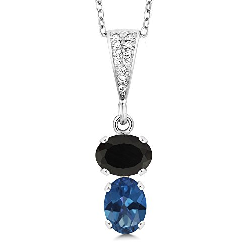 Gem Stone King 2.62 Ct Oval Black Onyx and Royal Blue Mystic Topaz 925 Sterling Silver Pendant