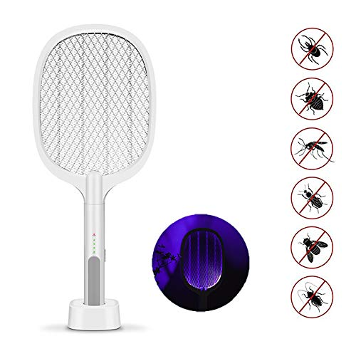 LTLGHY Raqueta Mosquitos Eléctrico, 2 in 1 Raqueta Matamoscas Eléctrica Recargable USB Malla De Seguridad Unica De 3 Capas De Malla De Seguridad De Protección