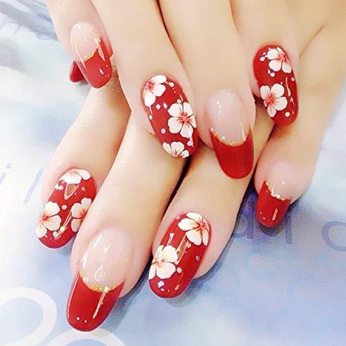 24 PCS Set Red Sakura Cherry Blossom Printing Press On Nails Christmas Red False Nails Fake Nails with Glue and Adhesive Tab 1