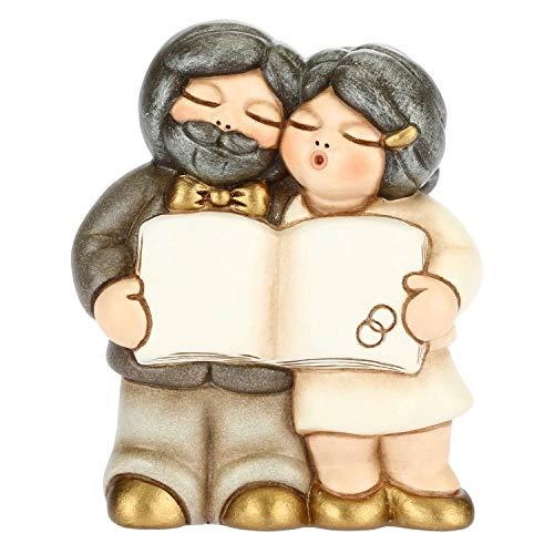 THUN - Coppia Sposi Nozze d'oro con Pergamena - Bomboniere - Anniversario di Matrimonio - Linea I Classici - Formato Piccolo - Ceramica - 5,5 x 2,9 x 6,7 h cm