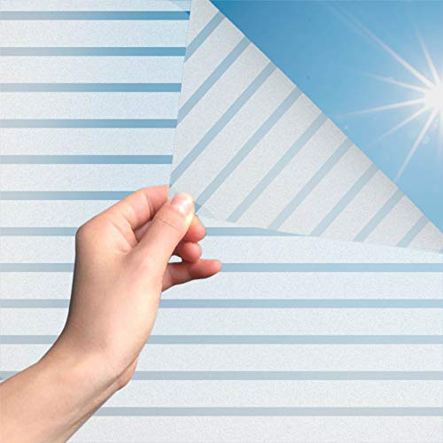 MARAPON® Fensterfolie mit Streifenmuster [60x200 cm] inkl. eBook mit Profitipps - Sichtschutzfolie Fenster mit statischer Haftung - Milchglasfolie - Fensterbilder selbsthaftend Blickdicht