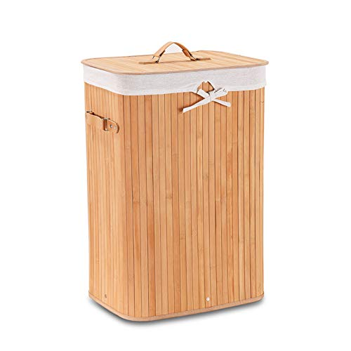 Wimarsbon Bamboo Laundry Hamper, Rectangular Laundry Basket with Removable Liner, Foldable Dirty Clothes Storage Basket with Lid, Handles, Standard Natural