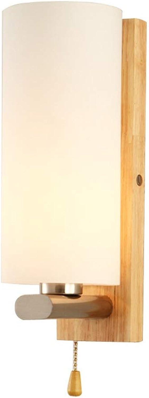 Hdmy Moderne Einfachheit Japanische Massivholz Schlafzimmer Nachttischlampe Wandleuchte Mit Zugschalter Europischen Wohnzimmer Küche Gang Glas Wandleuchte Restaurant Cafe Bar Studie Dekoration Wandle