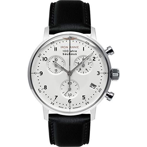 Junkers Annie de Hierro | Bauhaus | crono Esfera Blanca | Cuero Negro 5096-1