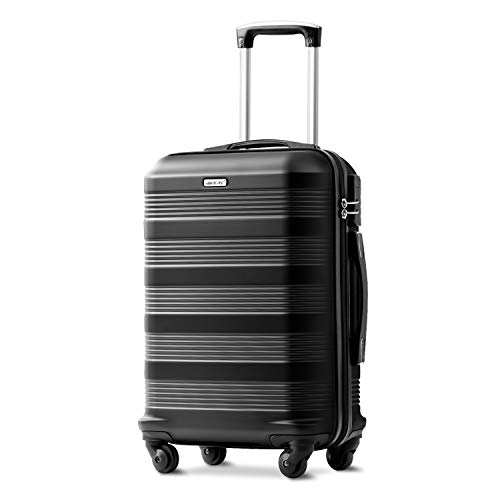 Merax Black 20 inches Suitcase, Super Lightweight ABS Hard Shell Travel Luggage with 360° Spinner Wheels - 1 Year Warranty