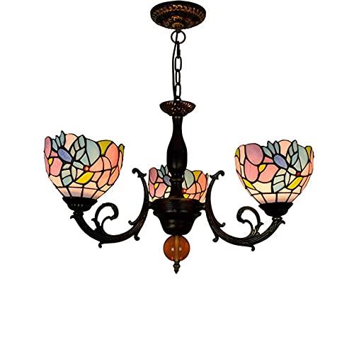 FFAN Lámpara Colgante de Estilo Tiffany, lámpara de Cristal de Colores, lámpara Colgante de 3 Brazos, lámpara Colgante de Techo Invertida Hecha a Mano Good Life