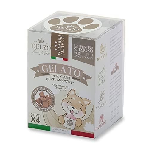 DELZO LUXURY PET   Gelato Per Cani E Gatti   Biscotti Per Cani   Preparato Per Gelato Con Vitamine A - D3 - E   Gelati Per Cane In 4 Gusti Più BISCOFISH In Regalo