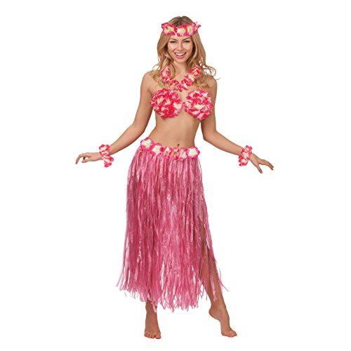 Hot Pink Hawaiian Honey Summer Beach Party Girl Fancy Dress Costume Outfit New