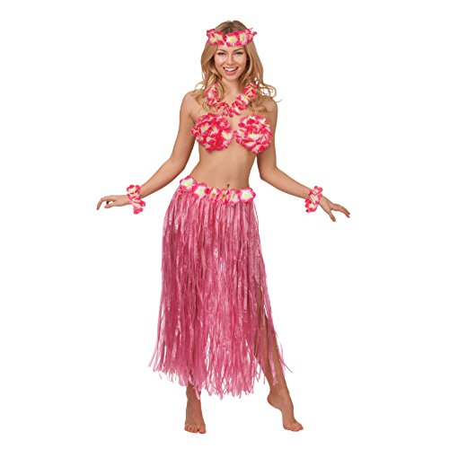 Hot Pink Hawaiian Honey Summer Beach Party Girl Fancy Dress Costume Outfit New