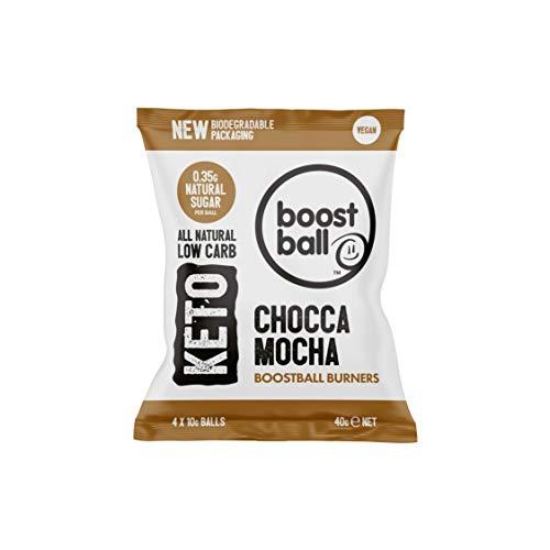Boostball Keto-Snacks, kohlenhydratarm, vegan, zuckerarm, glutenfrei, Faserquelle, 100% natürlich - Chocca-Mokka-Geschmack, 12 stück