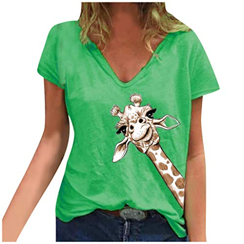 New Toimothcn Women V Neck Tops Cute Animal Printed Short Sleeve T-Shirt Tunic Top Loose Blouse(Gree...