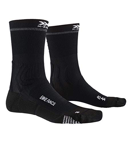 X-Socks Bike Race, Calzini da Ciclismo Unisex-Adulto, Opal Black/Eat Dust, 45-47