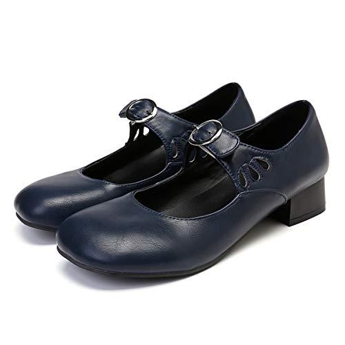 gracosy Merceditas Tacon Mujer Verano 2019 Mary Jane Zapatos Cuero Niña Mocasines Hechos a Mano Elegantes Casuales Modernos Sandalias BLU Rojo Azul Negro Marrón 37-43
