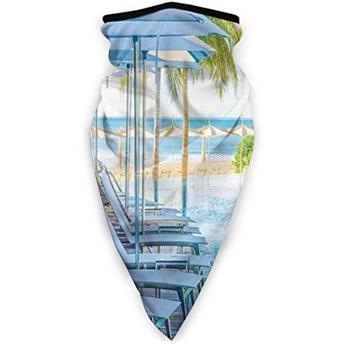 Face Scarf Luxury Hotel Pool Near Beach Palm Trees Exotic Resort Umbrella Sunbed Chair Balaclava Anti Dust