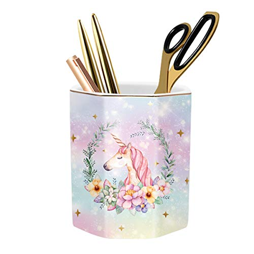 WAVEYU Pen Holder for Desk, Cute Pencil Holder Desk Decor for Teen-Girls Kids Durable Ceramic Multi-Purposed Desk Organizer Makeup Brush Holder for Office, Classroom, Home, Cute Unicorn