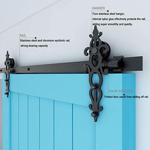CCJH 6.6FT-200cm Schiebetuer Schiene Set Schiebetürbeschlag System Laufschiene Blütenform Roller Hanger Kit Mit Einstellbar Bodenführung Für eine Tür