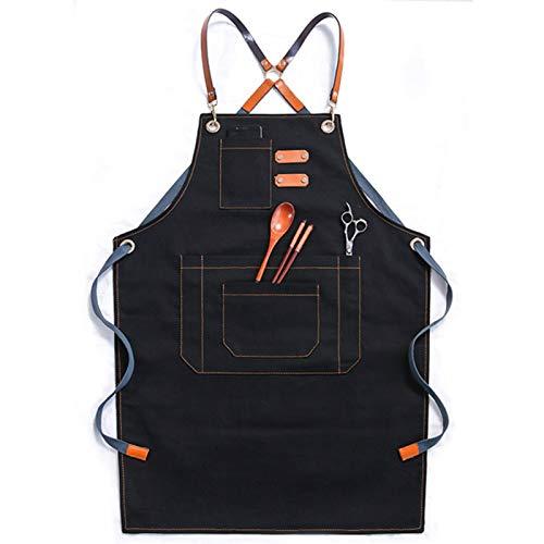 Delantal de Trabajo Mandil de Algodón Unisex con Diseño de Espalda Correas Cruzadas de Moda para Cafetería Tienda de Postres Restaurante para cocinar/Hornear/Asar (Color : Black)