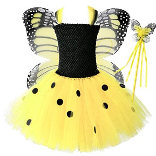 Amosfun Disfraz de Mariposa para Nios Tutu Wand Wing Girls Princesa Hada Disfraz Gasa Tutu Falda para Nias Pequeas Nios Cumpleaos Fiesta Suministros Tamao S