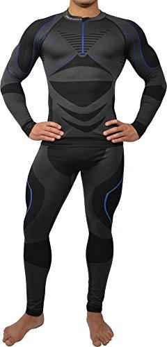 Polar Husky® Sport Funktionswäsche Herren Set (Hemd + Hose) Seamless, Thermo- & Funktionswäsche Farbe Schwarz/Dunkelblau Größe L/XL
