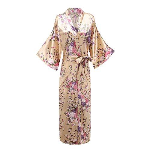 Generic Brands Tallas Grandes XXXL Mujeres Vestido Largo Albornoz Flor Kimono Pavo...