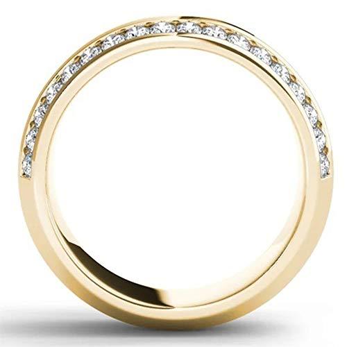 Zirkoon Ring 14k geel goud dubbele rij Diamond mannen en vrouwen mode verlovingsring geschikt voor cadeaus voor vriendinnen,No. 11