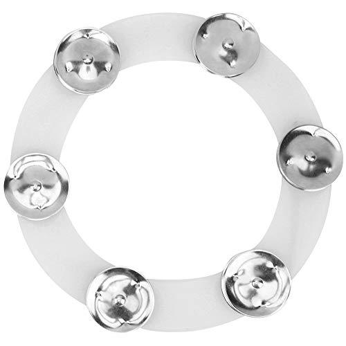Platillos de batería Hi Hat Pandereta Durable Drum Set con campanas de acero inoxidable y anillo de goma (Silver Gold)(Plata)