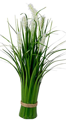 dekojohnson Künstliches Pampasgras als Bund stehend Deko-Pflanze natürliche lebensechte Kunst-Gräser grün Weiss 44cm Osterdeko Kunststoffgras