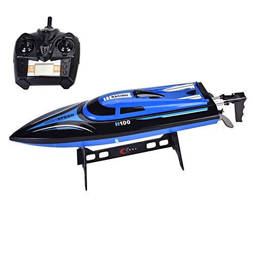 Wakects RC Speed Boat Spielzeug Geschenk,25 km/h elektrisches ferngesteuertes Spielzeugboot mit 2,4 GHz, 4-Kanal-Speed Racing-Kinderfernbedienungsboot, geeignet für Kinder über 8 Jahre