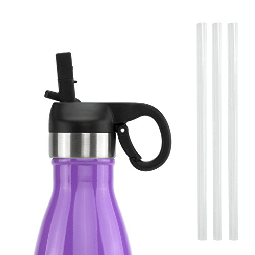 ICONIQ Pop Up Straw Cap for 17 Ounce Insulated Water Bottles (Black)