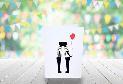 Homo Verjaardagskaart - Silhouette Rode Ballon - 210mm x 148mm (A5 Card)