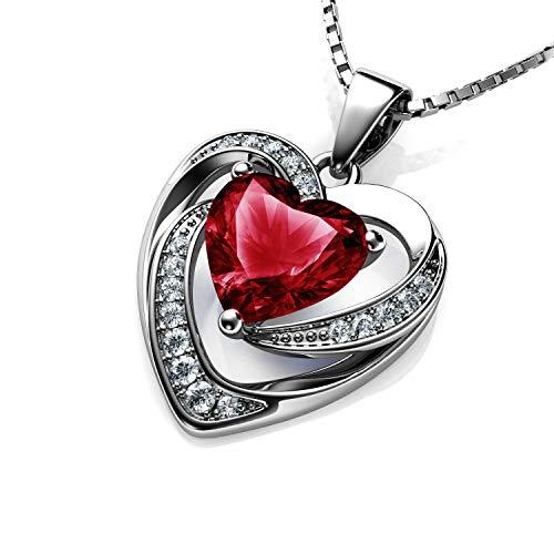 DEPHINI - Collana con cuore rosso - argento Sterling 925 - pietra portafortuna del Siam chiaro impreziosita con cristallo CZ - Collana da donna in argento placcato al rodio 45,7 cm