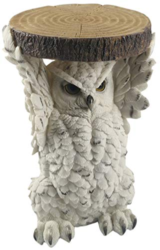 Middle-England 36cm Snowy Owl Side Coffee Occasional Table Plant Stand Polystone Animal Statue