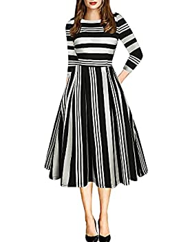 oxiuly Women s Vintage Patchwork Pockets Puffy Swing Casual Party Dress OX165  Black Stipe 7 x_l