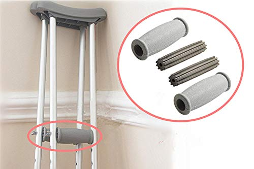 Crutch Solid Hand Grips Kit, Replacement Cushion Handles Medical Drive Cane Crutch Handgrips, 2 Pcs