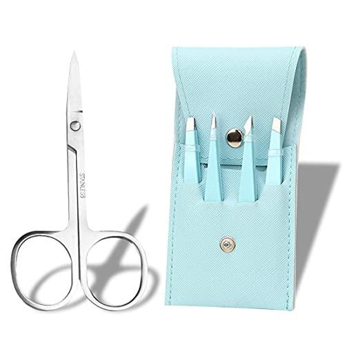 Teegxddy 5PCS cajas de pinzas, juego de pinzas de precisión, para depilación de cabello y pestañas, con caja, regalo para mujeres