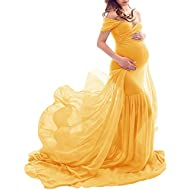 ZIUMUDY Maternity Off Shoulder Mermaid Chiffon Gown Maxi Photography Dress Baby Shower Photo Props Dress