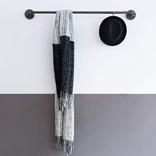 Various Kleiderstange Industrie-Design 100 x 12 cm - schöne Wand-Garderobe zum Aufhängen von Jacken - schwarz, Metall, U-Form