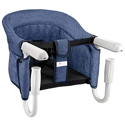 Mosbaby Kindersitz Babystuhl, Faltbarer Babystuhl Hochstuhl für Esstisch, Rutschfester Babysitz zum Befestigen am Tisch, Gepolsterter Tischstuhl für zu Hause und Unterwegs, mit Transportbeutel, Blau2